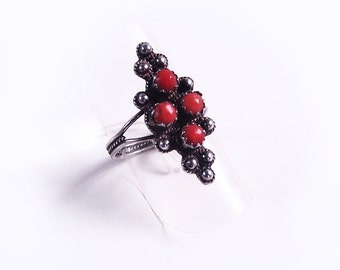 Silver and coral marquise ring