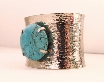 Steel turquoise stone bracelet
