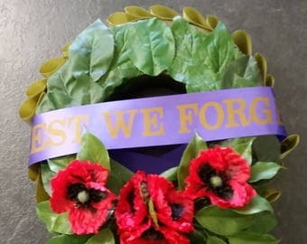 ANZAC Day Wreath with Poppies and Lest We Forget Ribbon
