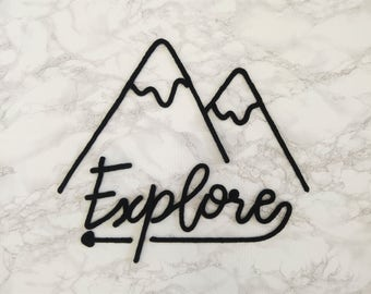 Knitting mountains, explore, wall decoration, handmade