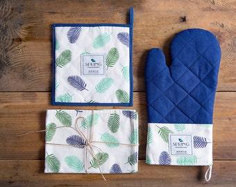 Kitchen textiles set, potholder, oven glove, tea towel, high-quality pot holders, housewarming gift, 1 pot holder  1 tea towel  1 oven glove