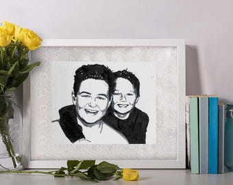 Hand Drawn Custom Portrait - Two People