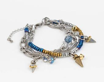 Bracelet, stainless steel, swarovski, white