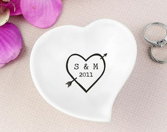 Personalised Wood Carving Ceramic Ring Dish Ceramic Ring Dish Personalised Ring Dish Initials Wedding Ring Dish