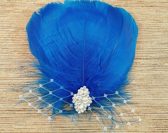 Electric Blue Feather Fascinator, Feather Fascinator, Hair Accessory, Feather Hair Clip, Formal Hair Accessory, Bridesmaid Hair Clip