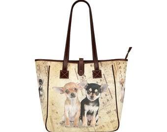 Chihuahua dog Women Tote Bag Shoulder Bag Handbag Classic Brown Custom bag