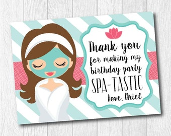 Spa Birthday Party matching thank you card, Printable Personalized Teal Pink thank you card