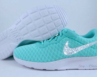 Swarovski Nikes Hyper Turquoise Tanjun for Women, Custom Nike Shoes with Swarovski Crystals, Bling Nike Shoes, Custom Glitter Kicks