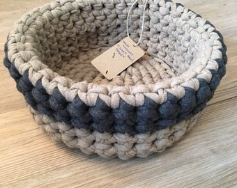 Crochet storage basket, hand crafted using t-shirt yarn