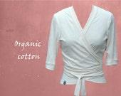 Bio-Baumwolle Bluse, gestrickte Wrap-Cardigan, stricken, Stoff, Bio-Baumwolle Weste, Top Overslagblousje GOTS Baumwolle, nachhaltig, Fair-Trade-Kleidung