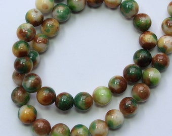 8mm Multi Colored Beads White Green Brown Jade Rounds 15 inch Strand 48 Beads Stone Gemstone
