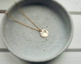 DANDELION COIN gold filled necklace