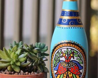 Handpainted Bottle Vase / Up-cycled Wine Bottle / Madhubani Painting on a Wine Bottle / Home decor / Indian folk art