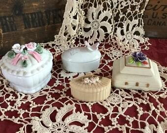 4 Vintage 70's Floral Themed Trinket Boxes / Porcelain /