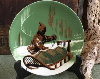 Matthew Adams Pottery Signed Plate /  Eskimo and Sled / Northwest Collection