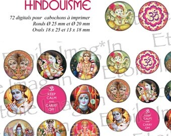 Board 72 digital * Hinduism * to print for cabochons