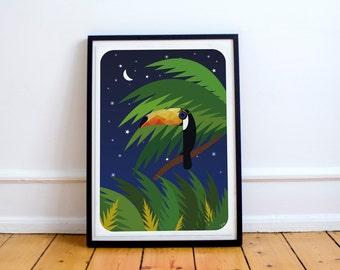 Toucan bird in jungle print | Digital Download |  Exotic Poster