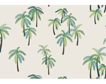 mid summer paradise / palm tree fabric/ 20' cotton/ clothing fabric/ green fabric/ simple fabric
