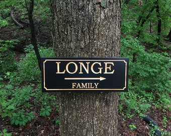 Custom Wood Sign with Name, Family Name Sign, Custom Carved Sign, Personalized Wooden Sign with arrow, Housewarming Gift, Engraved Wood Sign