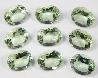 10 pieces Natural Green amethyst faceted cut oval shape loose gemstone