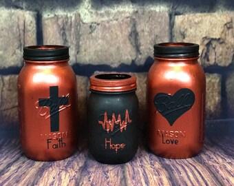FAITH, HOPE, LOVE mason jar