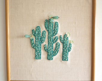 3 cactus embroidery / Embellished embroidery