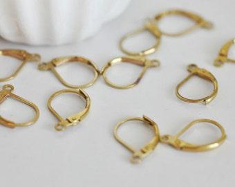 Set of 20 lights in raw brass earrings wires / raw brass lever back earrings
