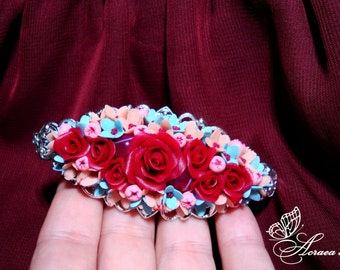 french barrette/hair french clip/ rose / red / lilac / flowers / bouquet / gift/Hairpin/polymer clay/roses Marsala/agate beads/