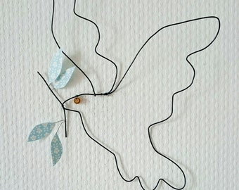 Peace dove, bird wire, paper, original wall decoration for Christmas