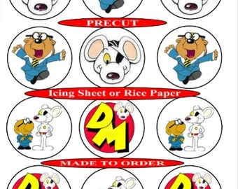 Dangermouse  pre-cut edible cupcake toppers, 2 sizes