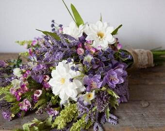 Wildflower Bouquet Lavender, Purple Bouquet, Rustic Bouquet, Wedding Bouquet, Boho Bridal Bouquet, Silk Flower Bouquet, Lavender Bouquet