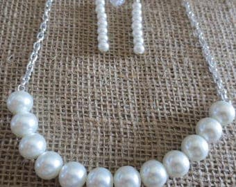 Imitation Pearl Necklace and Earring Set