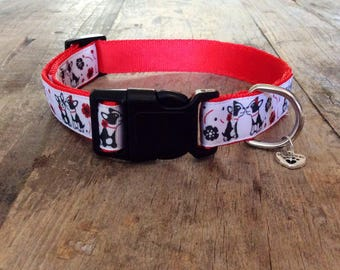 "Dog collar (kissing French bulldogs/Boston terriers)(1"")"