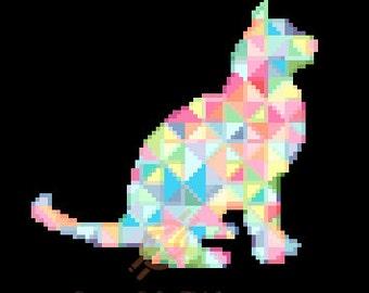 Geometric Watercolor Cat Cross Stitch Pattern