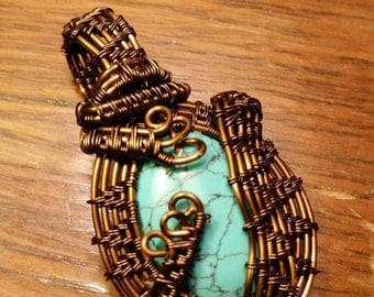 Torquise stone cabachon with bronze antiqued wire wrap