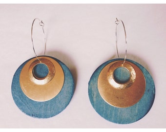 Ambiant. Medium. Brass circles. Hammered brass. Indigo. Wood. Sterling silver hoops. Lightweight.