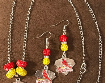 St Louis Cardinals necklace and earrings set with logo charms