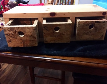 Hand made wod and plywood storage box with drawers