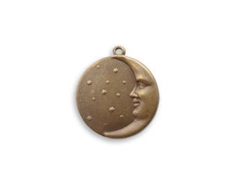 Vintaj Brass Moon Face Charm, Brass Moon Charm, Moon Disc Charm, Moon with Face Pendant