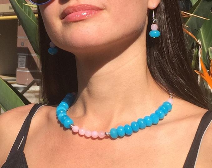 Beaded Blue Necklace, Blue Necklace, Blue Choker, Princess Length Necklace, Handmade Jewelry, Beach Jewelry, Gemstone Necklace