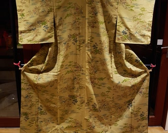 Shoken Silk Komon Kimono - Cultural Paintings on Olive Green