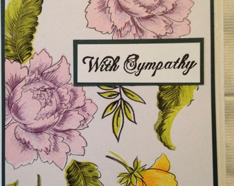 Handmade peony blossom sympathy card