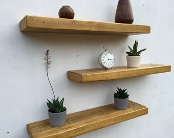 Rustic Floating Shelf Beautiful Thick Reclaimed Wood Mantel in Pine and Oak