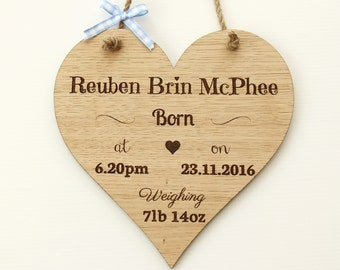 New Baby Boy Wooden Plaque, Personalised New Baby Gift, New Baby Boy Plaque, Newborn Gift, Baby Boy Gift, Baby Gift, Keepsake Gift,