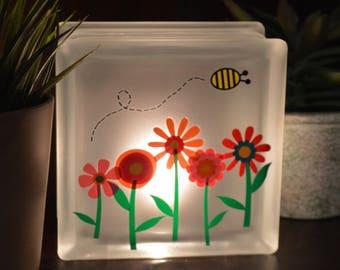 Spring Flowers Lighted Glass Block