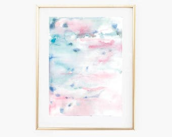 Blue and Pink Watercolor, Abstract Pastel Art, Neutral Art Print, Sky Blue and Soft Pink, Abstract Watercolor Wall Art, Bedroom Art Print