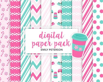 Peppermint, Winter, Candy Cane, Coffee - Cute Background, Digital Papers - Commercial Use, Instant Download | V3