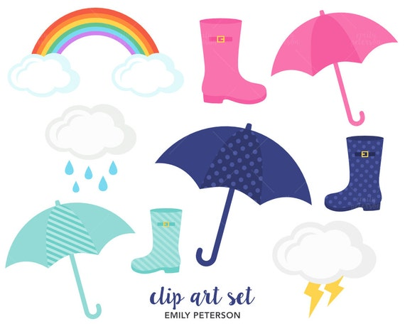 rain umbrella rain boots rainbow cute clipart clip art