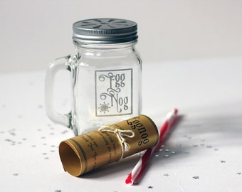 Hand Etched Egg Nog Mason jar with recipe, great Christmas gift or secret Santa, can be personalised.