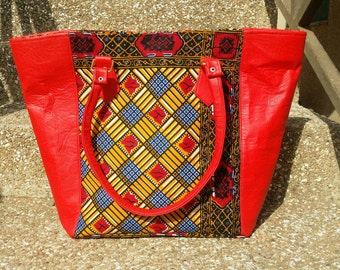 Red ethnic patched hand bag